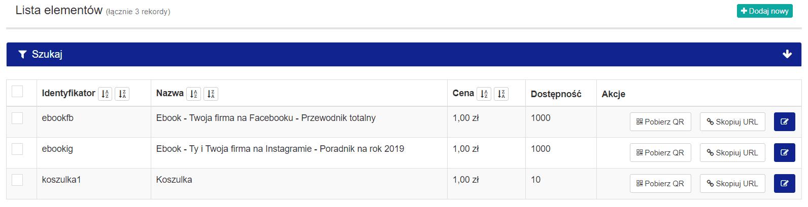 1koszyk - lista produktów