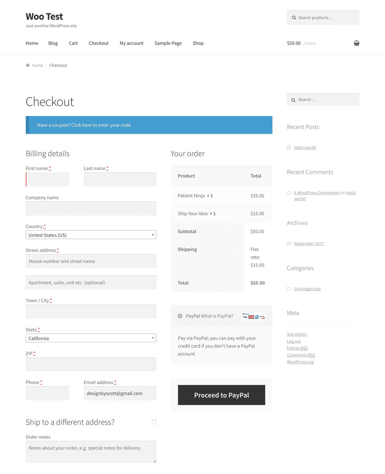 Checkout WooCommerce przed zmianami