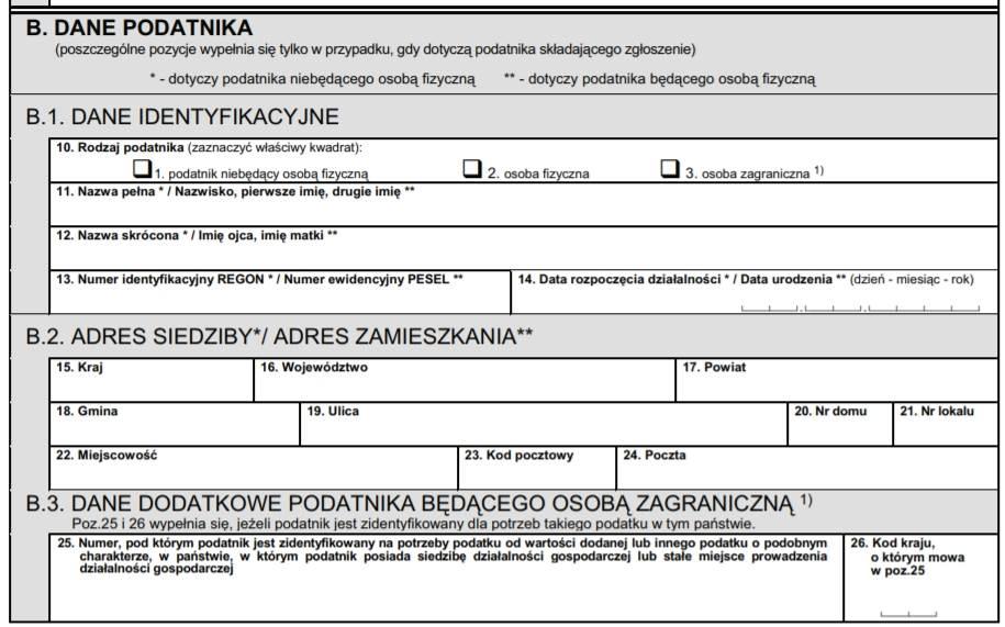 Zgłoszenie VAT-R - formularz - krok 2