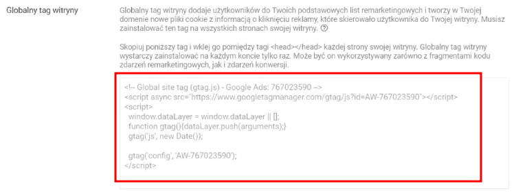 Kod remarketingowy Google