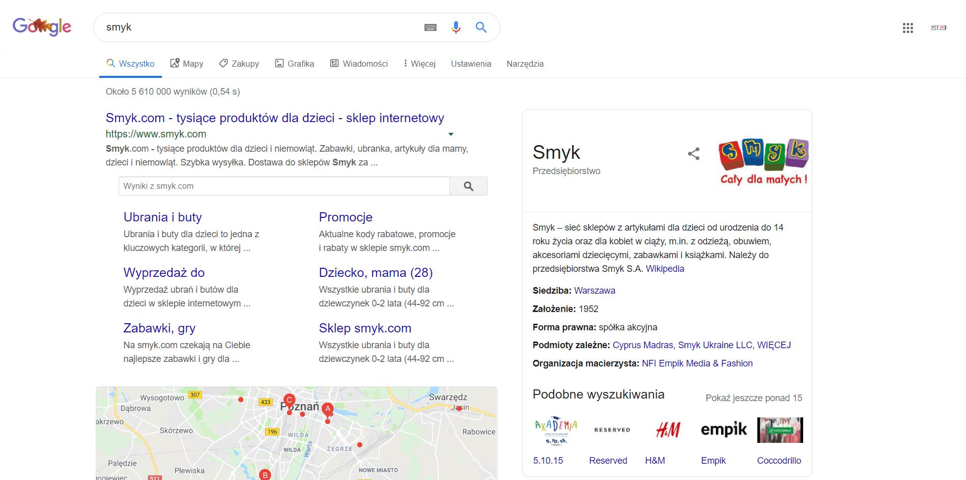 Google sitelinks - przykład