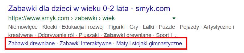 Google one-line sitelinks - przykład