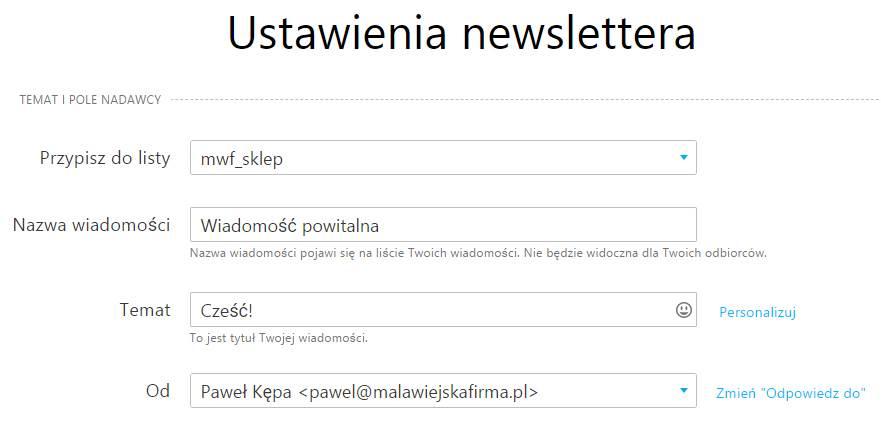 Ustawienia wysyłki newslettera