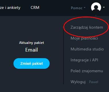 Newsletter - zarządzanie kontem