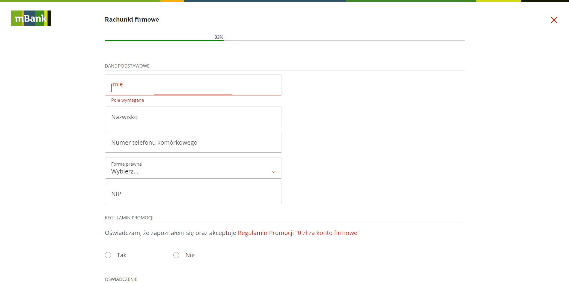 Zakładanie konta firmowego mBank - krok 2