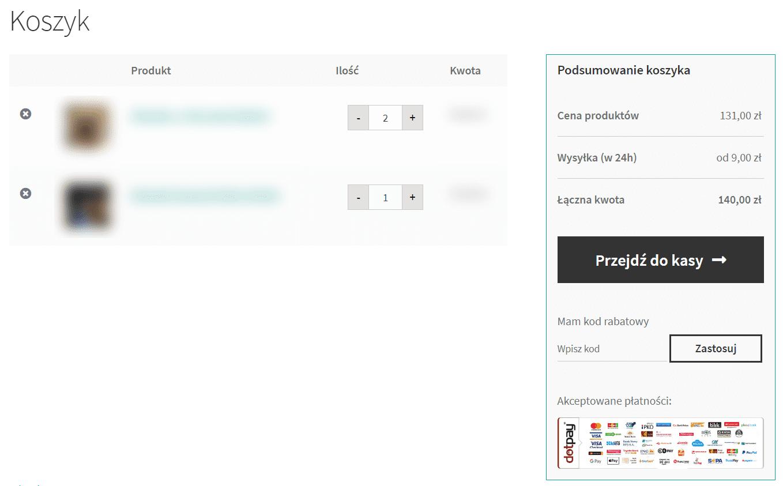 Uproszczony koszyk WooCommerce po zmianach