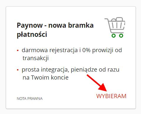 mBank - menu usługi Paynow