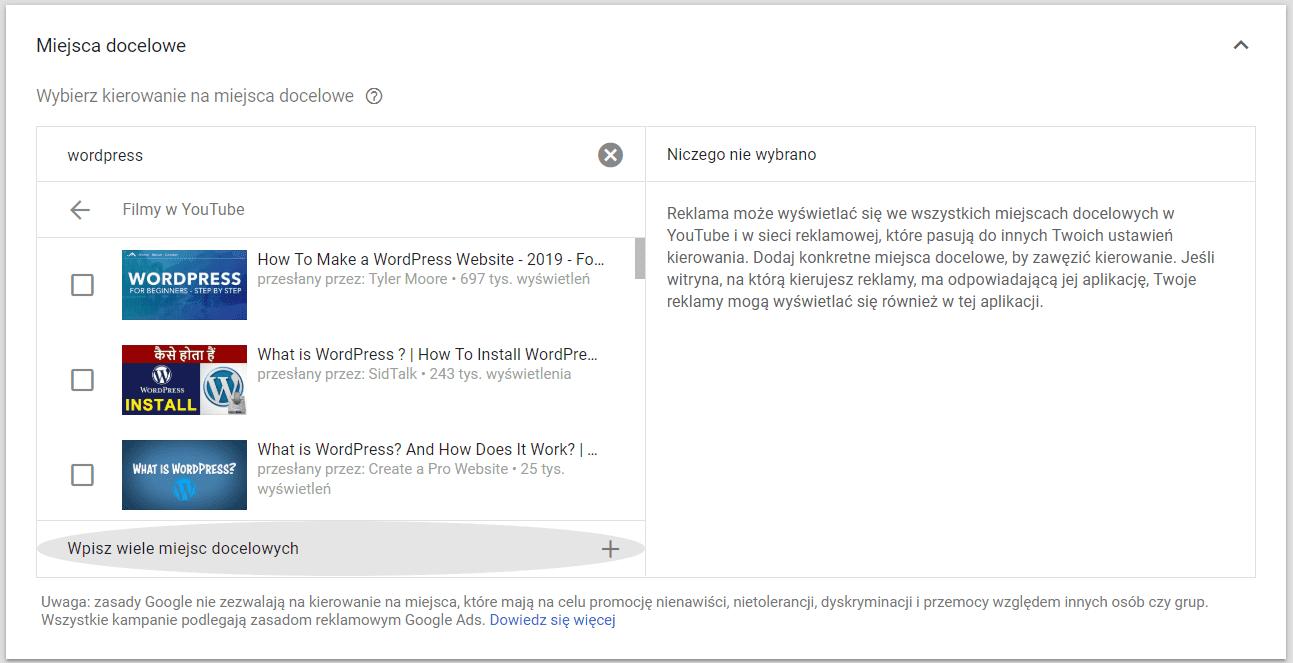 Targetowanie reklam na YouTube wg miejsca docelowego