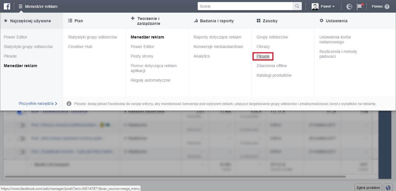 Piksel Facebooka w Menedżerze reklam