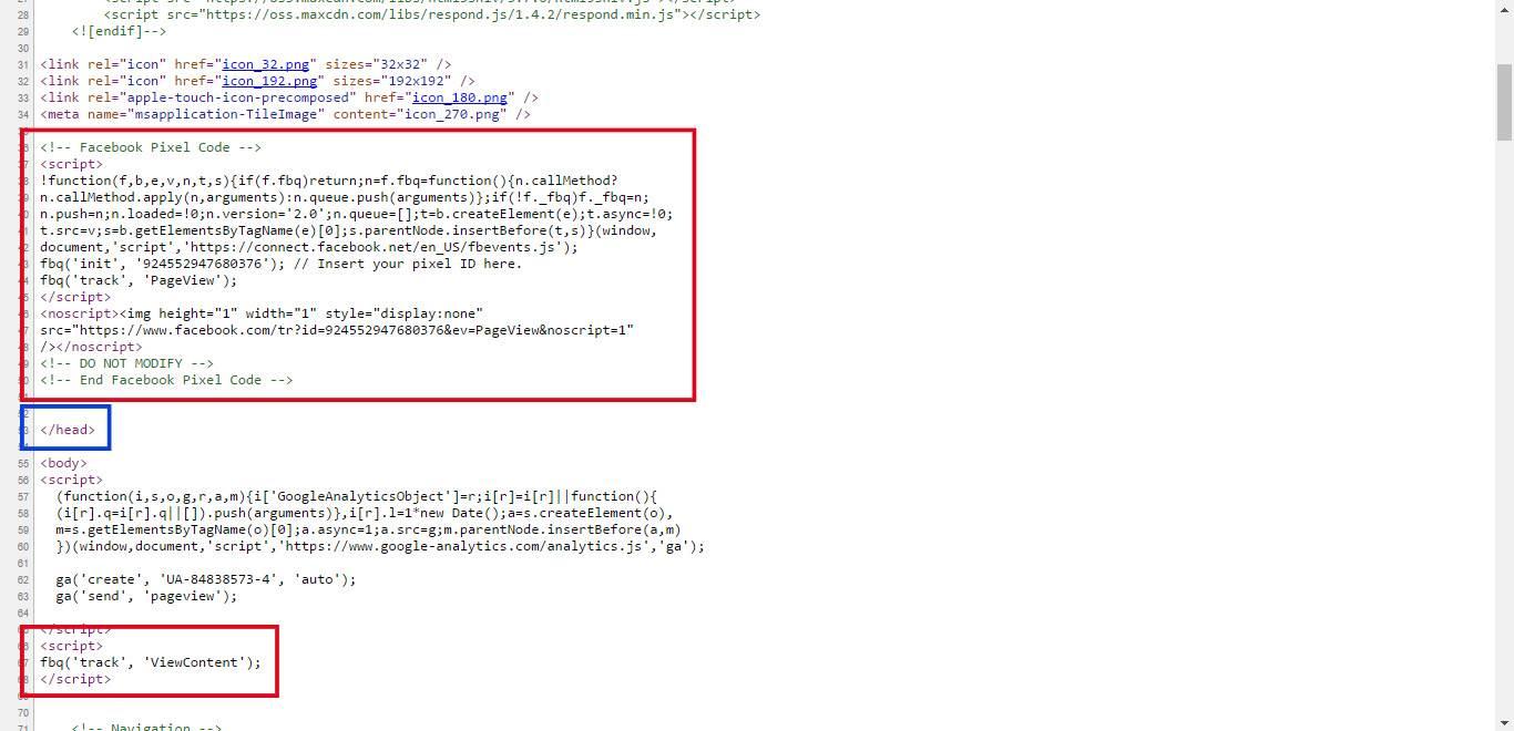 Podgląd piksela Facebooka w kodzie strony
