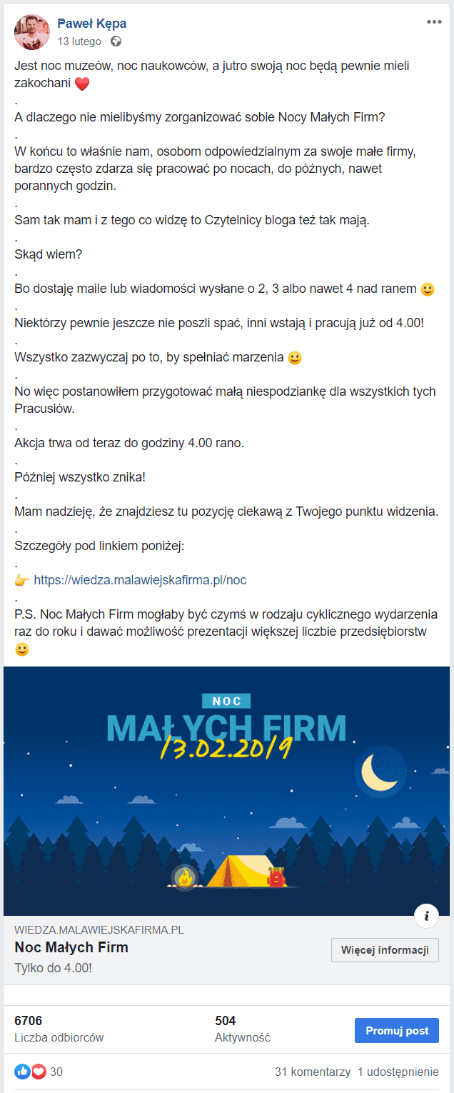 Marketing internetowy na Facebooku - reklama w kampanii