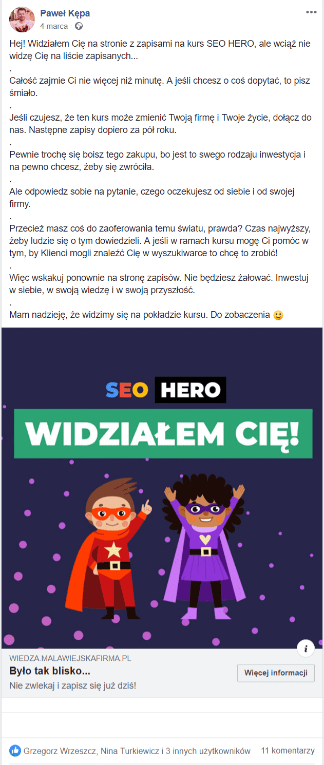 Reklama na Facebooku - remarketing