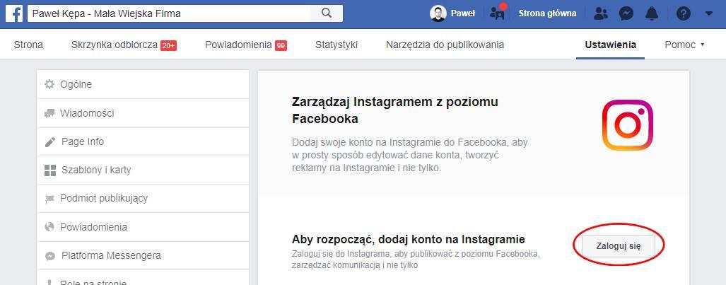 Łączenie konta Facebook z Instagramem