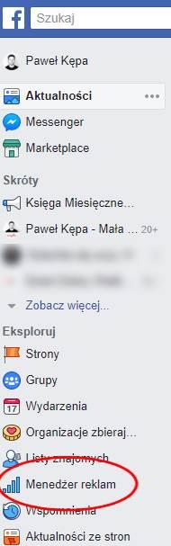 Menedżer reklam FB