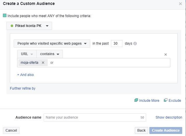 Remarketing na Facebooku - tworzenie grupy osób, które odwiedziły konkretną zakładkę na Twojej stronie