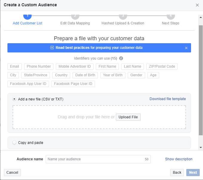 Tworzenie grupy odbiorców niestandardowych na Facebooku na podstawie adresów email - krok 2