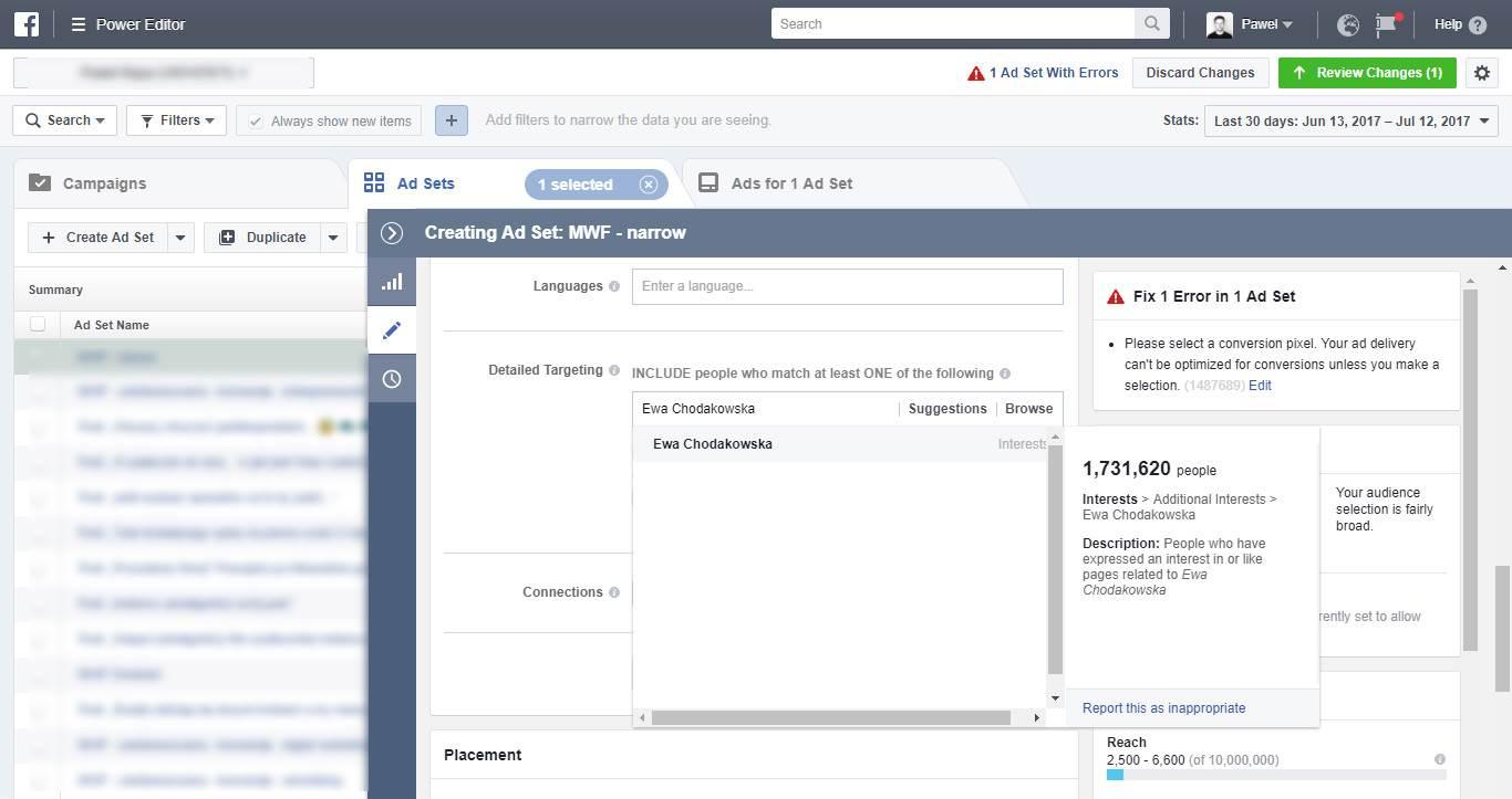 Targetowanie - podpowiedzi Facebooka