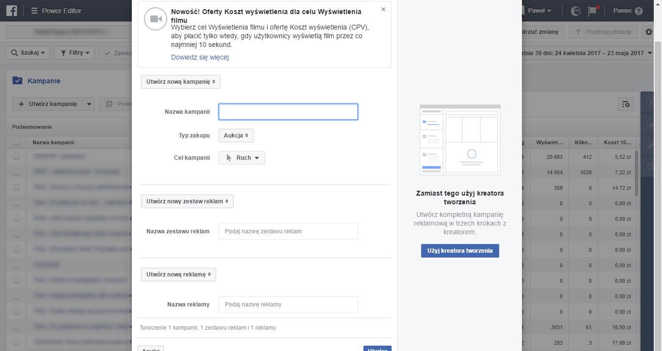 Tworzenie nowej kampanii reklamowej na Facebooku