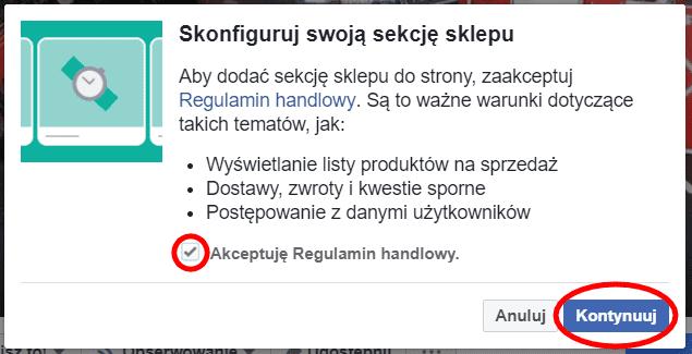 Regulamin sprzedaży na Facebooku
