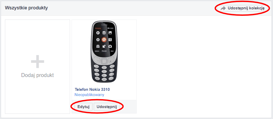 Sklep na Facebooku - produkty