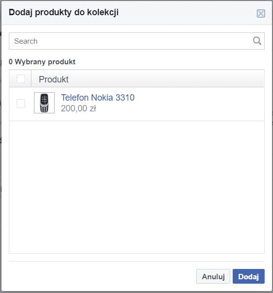 Przypisanie produktów w sklepie na Facebooku