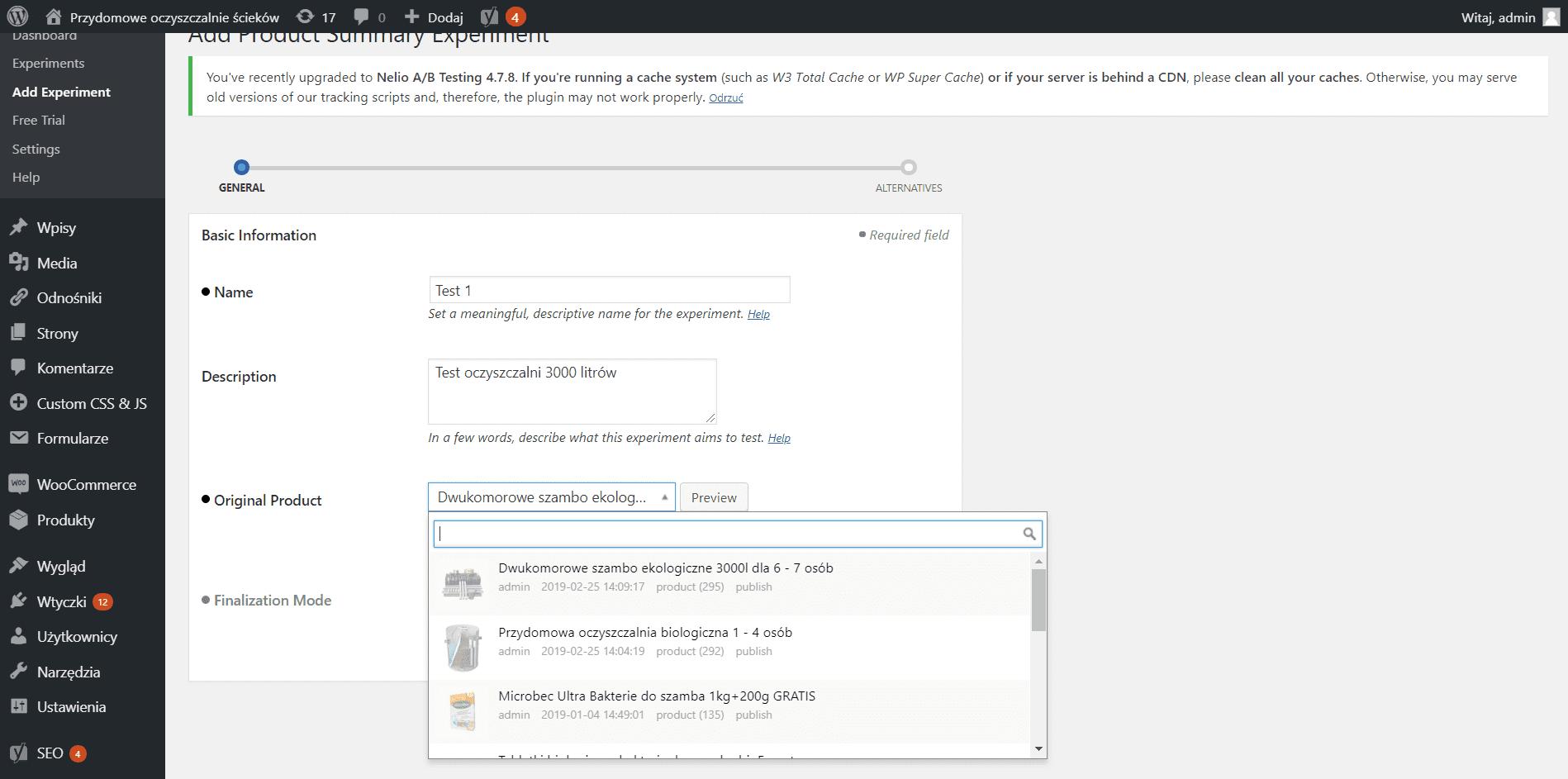 Testy A/B w Wordpress - WooCommerce 3
