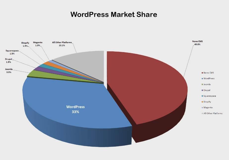 Udział WordPressa w rynku stron internetowych