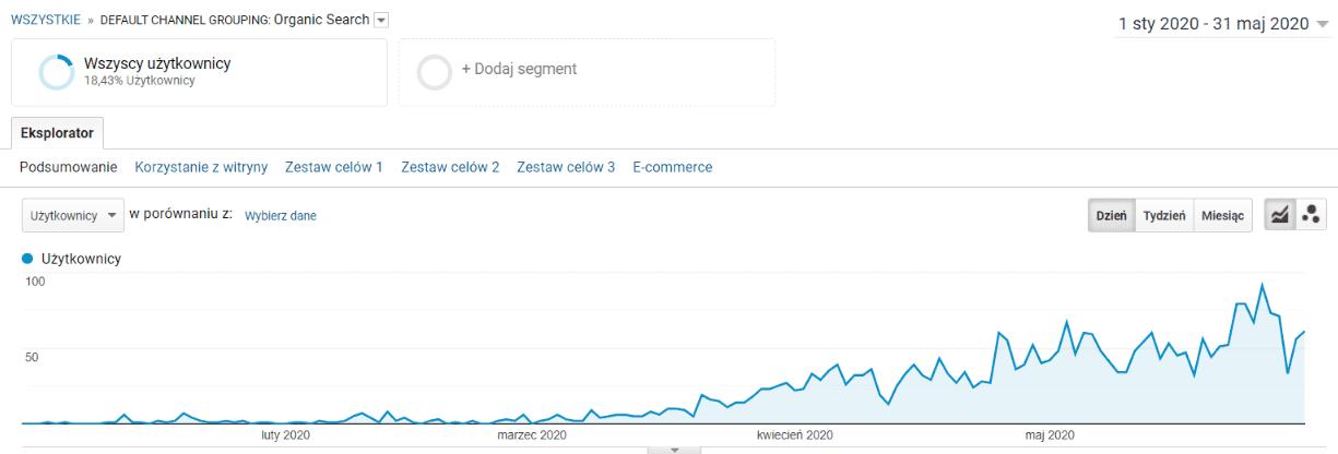 Przykład wzrostu ruchu na stronie dzięki SEO