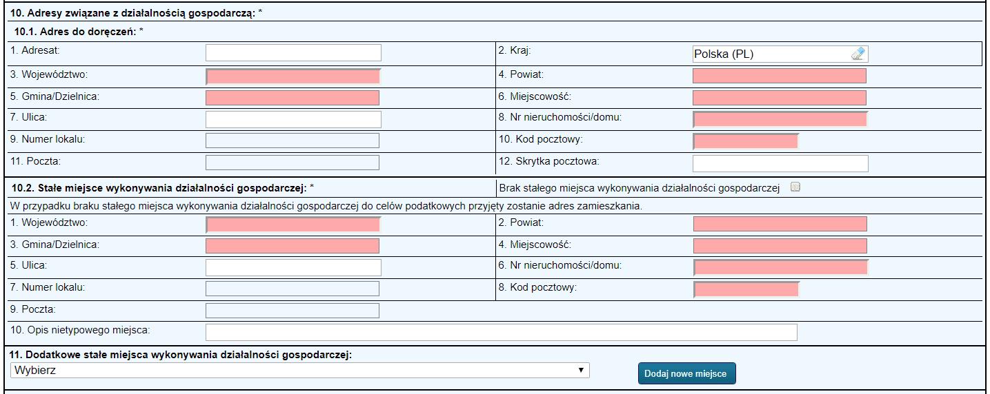 Jednoosobowa działalność gospodarcza - formularz - krok 8