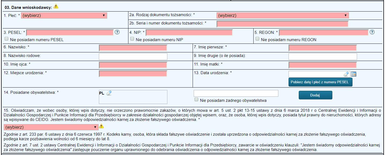 Jednoosobowa działalność gospodarcza - formularz - krok 2