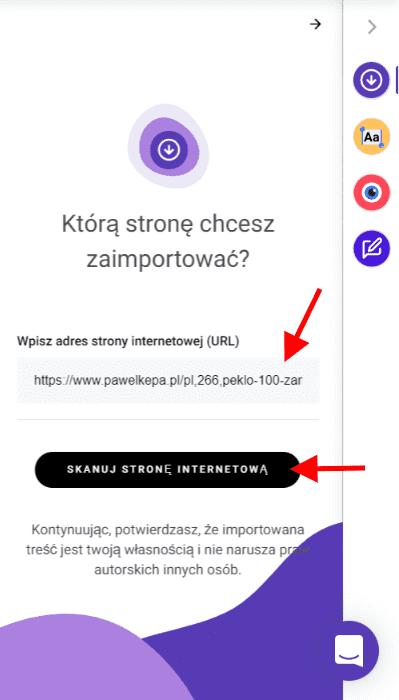 Importert tekstów w kreatorze Zyro