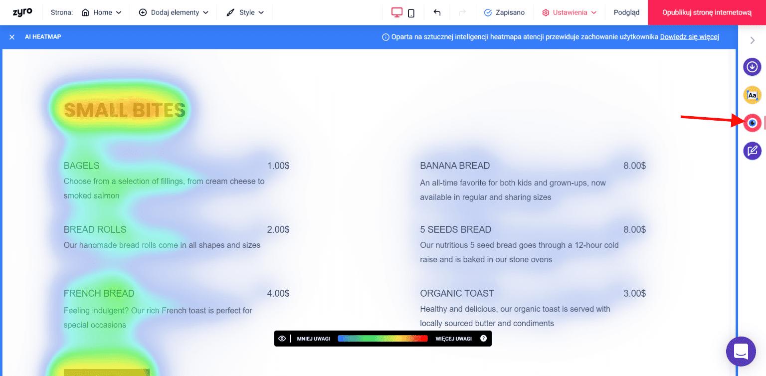 AI Heatmap w kreatorze Zyro